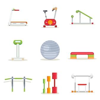 Équipement d'exercice de gym fitness pour l'entraînement dans un style plat. jeu d'icônes. tapis roulant et haltères, plate-forme et barre, course et vélo, illustration vectorielle