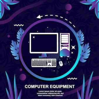 Équipement informatique vectoriel design plat