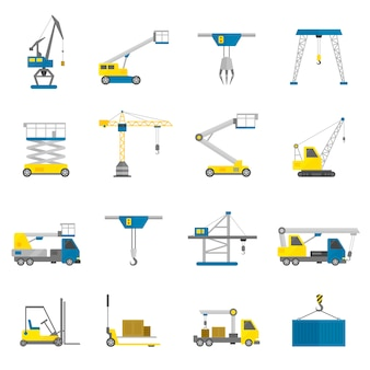 équipement de levage icône plate définie