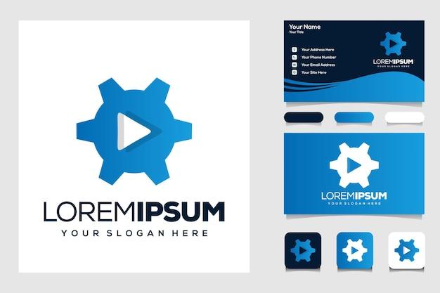 Équipement moderne et carte de visite de logo de jeu