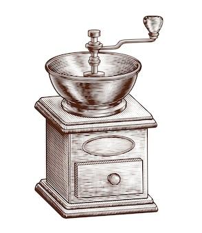 Équipement de moulin à café gravé sur fond blanc