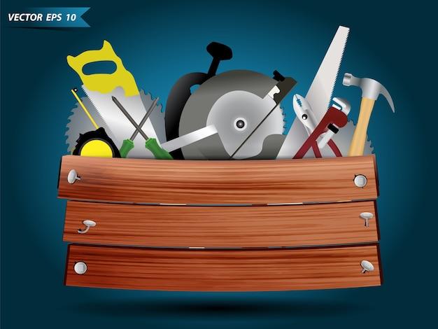 Équipement d'outils de charpentier en boîte