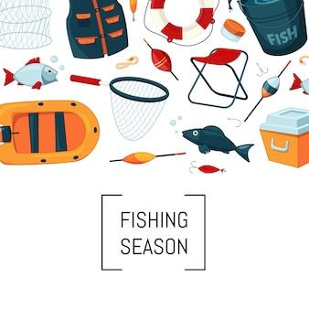 Équipement de pêche de bande dessinée