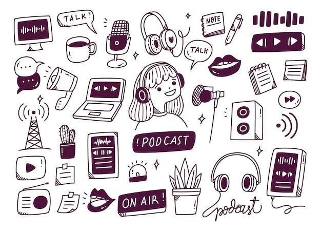 Équipement de podcast dans l'illustration de style doodle