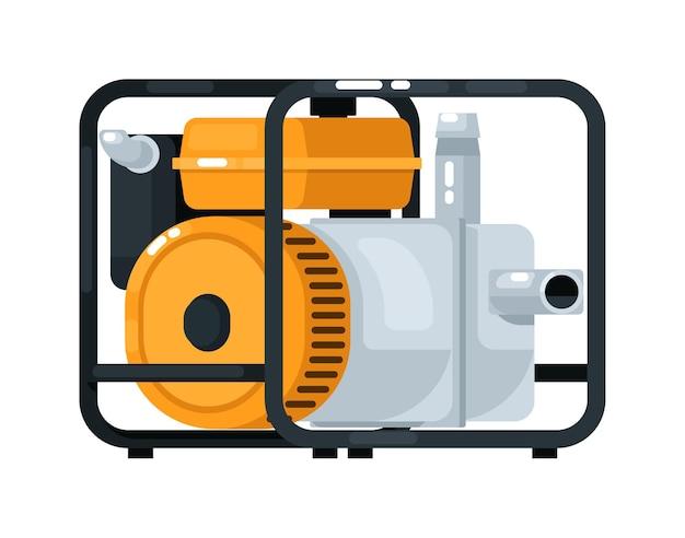 Équipement de pompe à eau de moteur diesel isolé sur blanc