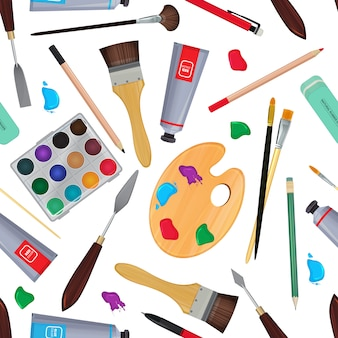 Equipement pour artistes. papeterie différente. matériel de papeterie de modèle sans couture pour dessiner au crayon et à la peinture. illustration vectorielle