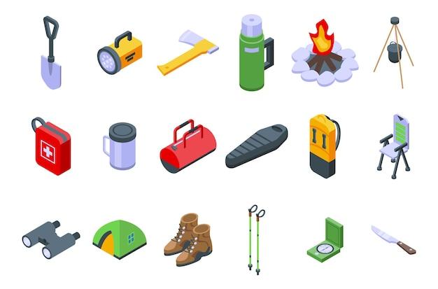 Équipement pour le jeu d'icônes de randonnée. ensemble isométrique d'équipements pour les icônes vectorielles de randonnée pour la conception web isolé sur fond blanc