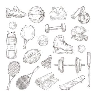 Équipement de sport dessiné à la main. médaille, ballon de basket et de rugby, volant et casque de football