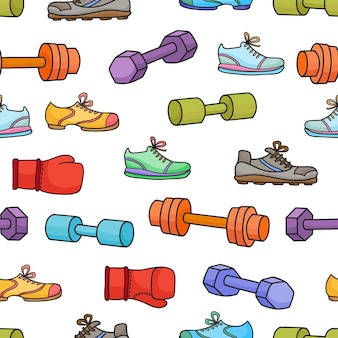 Équipement de sport, éléments de mode de vie sain. modèle sans couture avec haltères de dessin animé simple, gants de boxe et baskets isolés sur fond blanc.