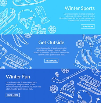 Équipement de sports d'hiver dessiné à la main et attributs