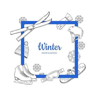 Équipement de sports d'hiver dessiné à la main