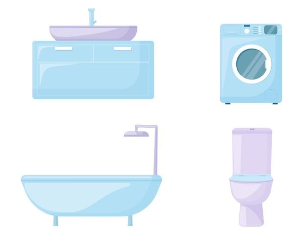 Équipements et accessoires pour les toilettes et la salle de bain. vecteur.