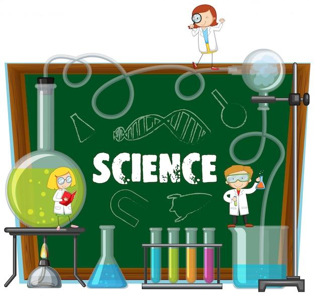Équipements de laboratoire scientifique et tableau noir