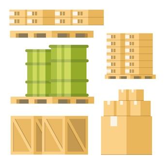 Équipements de livraison box barrel pallet tray set