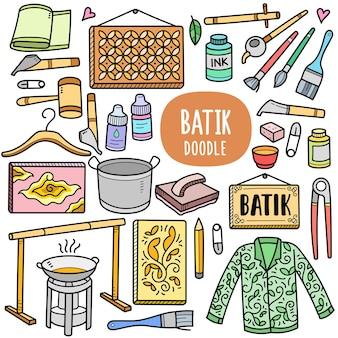 Équipements de peinture batik traditionnels éléments graphiques vectoriels colorés et illustrations de griffonnage