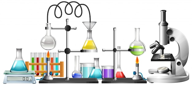 Équipements scientifiques sur blanc