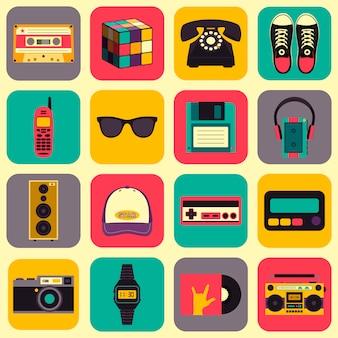 Équipements de style ancien, accessoires et icônes de choses définies. collection old school dans un style plat