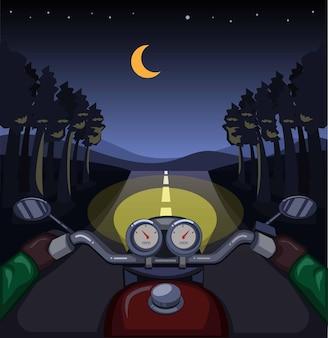 Équitation de moto dans la nuit de la forêt, concept de scène de tableau de bord vue cavalier en illustration de dessin animé