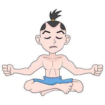 Un ermite est assis en train de méditer en absorbant l'énergie de la nature. icône de griffonnage kawaii.