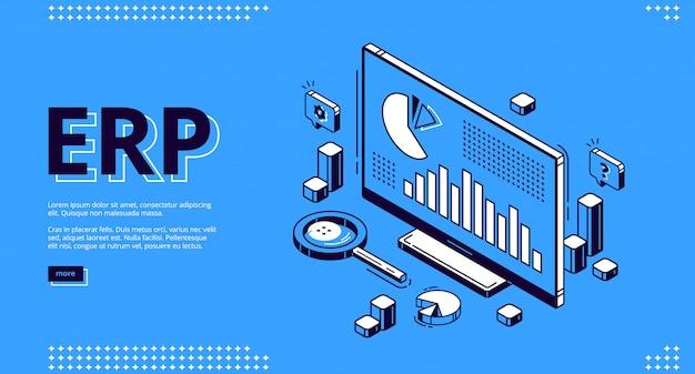 Erp atterrissage isométrique de la planification des ressources d'entreprise