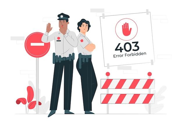 Erreur 403 interdite (avec la police) illustration de concept