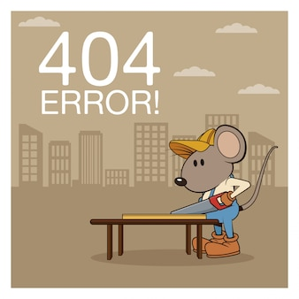 Erreur 404 avec dessin animé de souris drôle