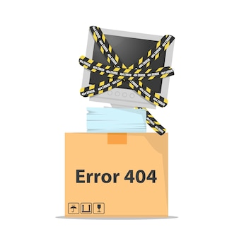 Erreur 404 avec écran d'ordinateur cassé