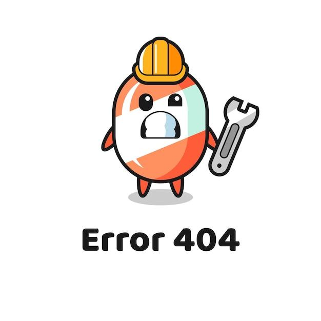 Erreur 404 avec la mascotte de bonbons mignons, design de style mignon pour t-shirt, autocollant, élément de logo