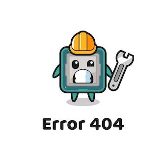 Erreur 404 avec la mascotte du processeur mignon, design de style mignon pour t-shirt, autocollant, élément de logo
