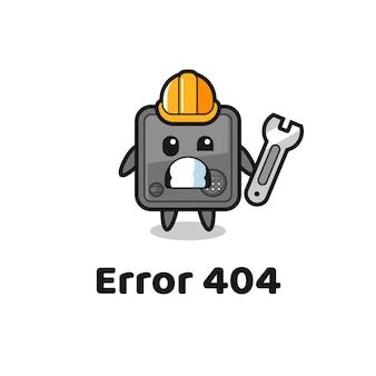 Erreur 404 avec la mascotte mignonne de coffre-fort, design de style mignon pour t-shirt, autocollant, élément de logo