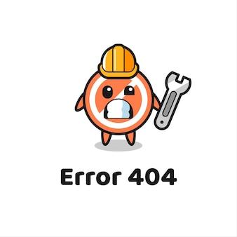 Erreur 404 avec la mascotte mignonne de panneau d'arrêt, conception de style mignon pour t-shirt, autocollant, élément de logo
