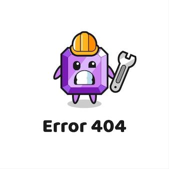 Erreur 404 avec la mascotte mignonne de pierres précieuses violettes, design de style mignon pour t-shirt, autocollant, élément de logo