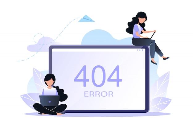 Erreur 404 page ou fichier non trouvé concept. illustration vectorielle