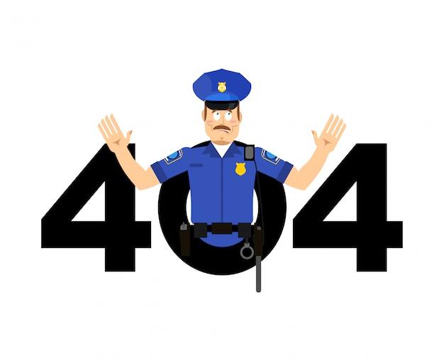 Erreur 404, page introuvable pour le site web avec un policier