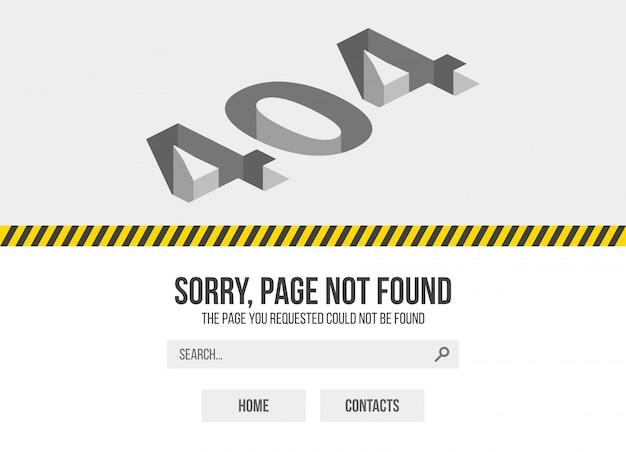 Erreur 404 - page non trouvée. oups, problème de conception d'avertissement internet.