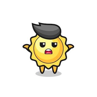 Erreur 404 avec le personnage de mascotte de soleil mignon de mascotte de soleil disant que je ne sais pas, conception de style mignon pour t-shirt, autocollant, élément de logo