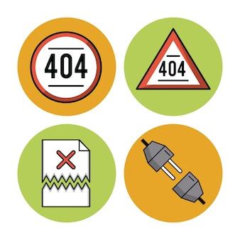 Erreurs 401 icônes sur fond blanc vector illustration graphisme