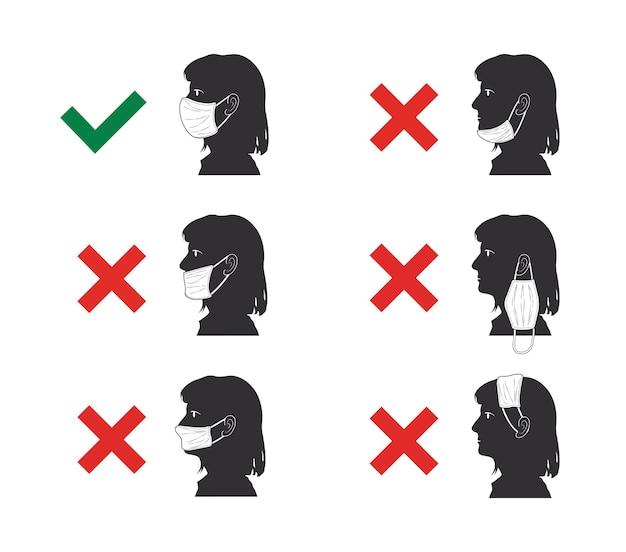 Erreurs courantes lors du port de masques évitez les erreurs lors du port de masques faciaux illustration vectorielle