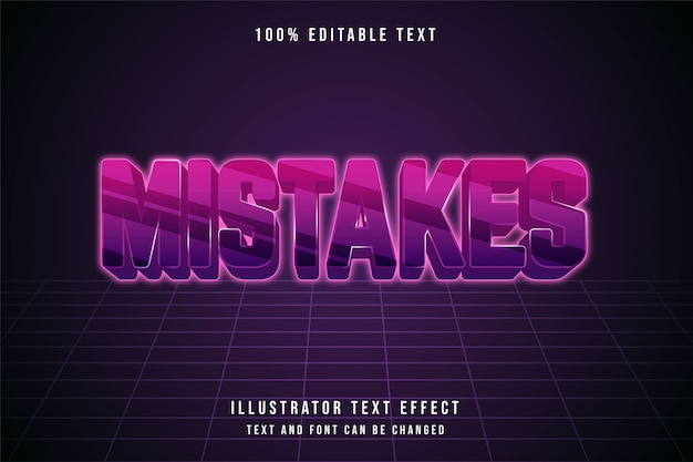 Erreurs, effet de texte modifiable 3d dégradé rose style d'effet futuriste violet
