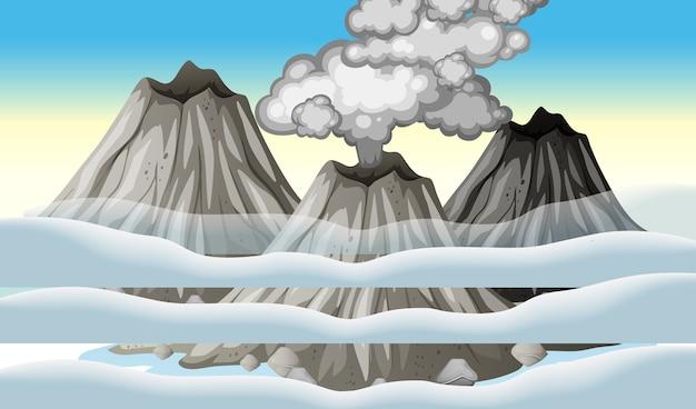 Éruption du volcan dans le ciel avec scène de nuages pendant la journée