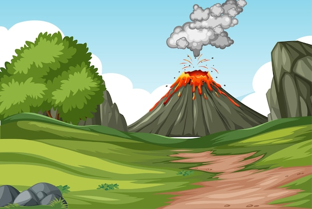Éruption du volcan dans la scène de la forêt naturelle pendant la journée