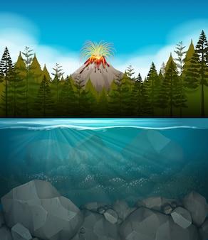 Éruption volcanique dans la forêt