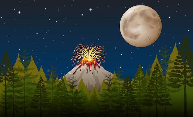 Éruption volcanique la nuit