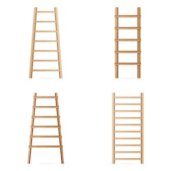 Escabeau en bois. ensemble de vecteurs de différentes échelles. escalier classique isolé sur fond blanc. réaliste