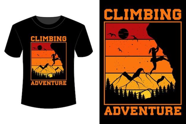 Escalade aventure t-shirt design vintage rétro