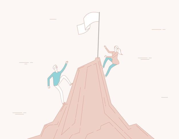 Escalade commerciale. femme homme grimpe vers le succès.