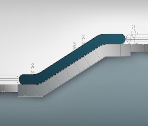 Escalator moderne bleu avec place pour la publicité vue latérale isolé sur fond