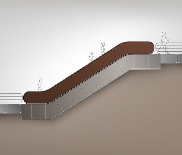 Escalator moderne marron avec place pour la publicité vue latérale isolé sur fond