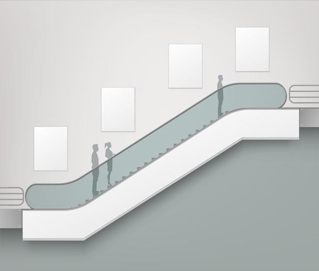 Escalator moderne avec place pour la publicité vue latérale isolée sur le centre commercial office mall centre commercial fond intérieur du bâtiment