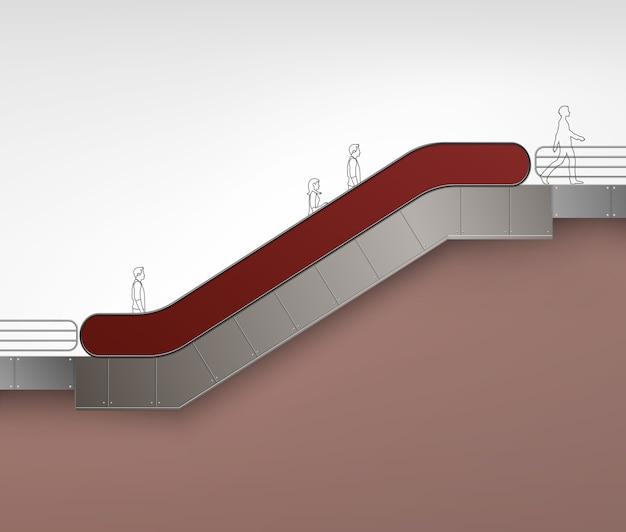 Escalator moderne rouge brun avec place pour la publicité vue latérale isolé sur fond